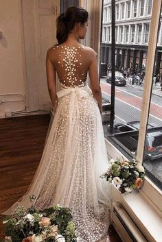 Just one of our many stunning gowns ? Beautiful wedding dress with an incredible illusion back! Double tap if this could be your dream dress … Illusion Neckline Wedding Dress, Wedding Dress Necklines, Dream Wedding Dresses, Bridal Dresses, Wedding Gowns, Wedding Bride, Dresses Dresses, Backless Wedding, Wedding Dresses With Bows