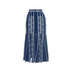 Peter Pilotto     Navy Index Knit Skirt ($808) ❤ liked on Polyvore featuring skirts, peter pilotto, navy skirt, navy blue skirt, navy knee length skirt and knit skirt