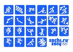 "Sochi 2014 Organizing Committee unveiled the pictograms of the 2014 Winter Olympic Games. The pictograms are based on those of the 1980 Summer Olympic Games in Moscow and, as the press release states, ""taking into account modern views. Winter Olympic Games, Winter Games, Winter Olympics, Olympic Medals, Olympic Sports, Olympic Icons, Design Web, Graphic Design, Theme Sport"