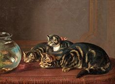 Cats by a Fishbowl : Henriëtte Ronner-Knip : c1860 Archival Reprint Company