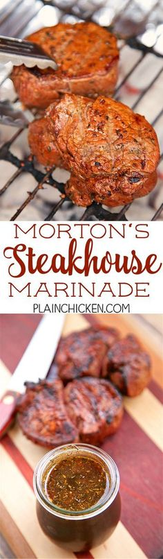 Morton's Steakhouse Marinade - recipe from the famous steakhouse. Garlic thyme cayenne pepper soy sauce Worcestershire sauce oil lime juice salt and pepper. This makes THE BEST steaks EVER! I cleaned my plate and I never do that! Seriously the be Steak Recipes, Grilling Recipes, Cooking Recipes, Morton Steakhouse, Good Food, Yummy Food, Comida Latina, Best Steak, Le Diner