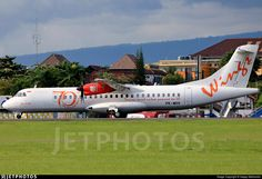 Wings Air (ID) ATR 72-600( 72-212A) PK-WHV aircraft, painted in ''70th ATR'' special colors, rolling at Indonesia, Adisutjipto Int'l Airport. 23/02/2017.