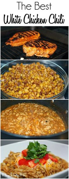 The absolute best white bean chicken chili recipe from playpartypin.com, love the addition of grilled chicken and caramelized corn