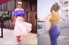Channeling new wave screen icon Jean Seaburg, Stefania Ferrario looked like she walked straight out of the 1950's while donning cat-eye sunglasses, a high-waisted skirt and crop top.