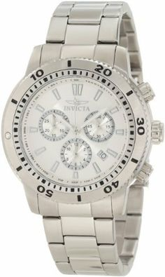 Invicta Men's 10358 Specialty Chronograph Silver Dial Watch Invicta. $79.99. Chronograph functions with 60 second, 30 minute and 12 hour subdials; date function. Swiss quartz movement. Water-resistant to 100 M (330 feet). Flame-fusion crystal; brushed and polished stainless steel case and bracelet. Silver dial with silver tone hands and hour markers; luminous; unidirectional bezel with black arabic numerals; tachymeter scale on inner bezel. Save 87% Off!