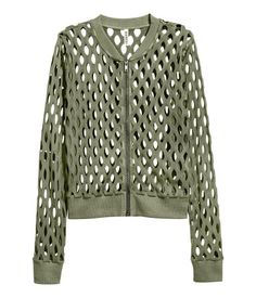 Khaki green. Fine-knit cotton cardigan with a perforated pattern, ribbed stand-up collar, zip at front, and ribbing at cuffs and hem.
