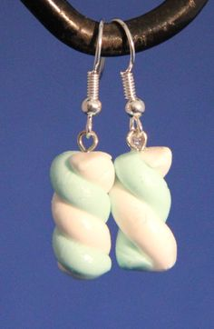 Handmade Polymer Clay Marshmallow Earrings kawaii by PurpleCatShop, €5.00