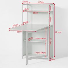 SoBuy® White Home Office 4 Tiers Bookcase Storage Shelves with Folding Writing Reading Laptop Desk Table Folding Furniture, Smart Furniture, Space Saving Furniture, Table Furniture, Furniture Design, Furniture Storage, Furniture Outlet, Table Desk, Wood Table