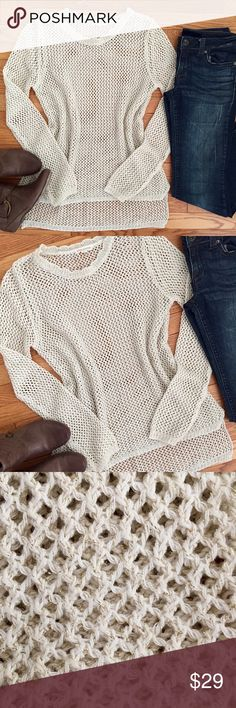 Sheer Knit Sweater Worn only a couple of times with ❤️ Chick gold detail. Wear with a tank top underneath or just a nice bra for a sexier look ☺️ Boutique Sweaters Crew & Scoop Necks
