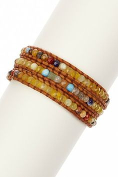 Yellow African Opal Mix Leather Wrap Bracelet by Chan Luu on @HauteLook