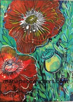 Little+Red+Poppies,+painting+by+artist+Maria+Pace-Wynters