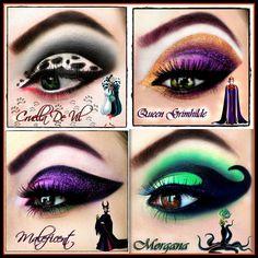 Disney Character Eye Shadow - Make Up Disney Villains Makeup, Disney Eye Makeup, Disney Inspired Makeup, Disney Princess Makeup, Eye Makeup Art, Cute Makeup, Eyeshadow Makeup, Eyeliner, Disney Villian