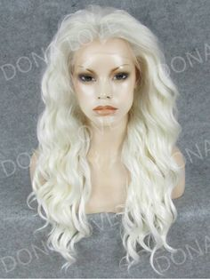 White Waist-Length Wavy Synthetic Lace Front Wig-SNY040 - SYNTHETIC WIGS - DonaLoveHair