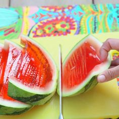 This party-size Jell-O shot IS the party. If you want all your friends to obsess over you all summer, all you need to do is make this jumbo-sized watermelon. It takes time to set in the fridge, but otherwise it's so simple…Read Party Drinks, Cocktail Drinks, Fun Drinks, Alcoholic Drinks, Beverages, Watermelon Jello Shots, Watermelon Recipes, Watermelon Alcohol, Spiked Watermelon