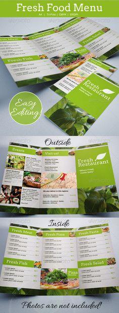 Fresh Food Menu Template Tri-Fold