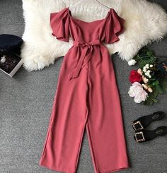 2019 Women Solid Short Sleeve Lace-Up Pocket Waist Wide Leg Jumpsuits Women Slash Neck Elegant Overalls Wide leg jumpsuits outfits 2020 Indian Fashion Dresses, Girls Fashion Clothes, Teen Fashion Outfits, Girl Outfits, Red Clothing, Fashion Fall, Fasion, Fashion Trends, Cute Casual Outfits
