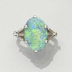 Bonhams 1793 : A black opal ring,