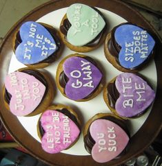 Snarky Conversation Hearts (anti-Valentine's Day) cupcakes