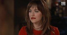 Dakota Johnson spoofs 'Fifty Shades of Grey' in her #SNL hosting promos! www.pinterest.com/lilyslibrary/ FSOG