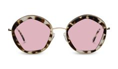 Kaleos Robbinson 60's style round sunglasses with hexagon shaped frame and pink tinted lenses