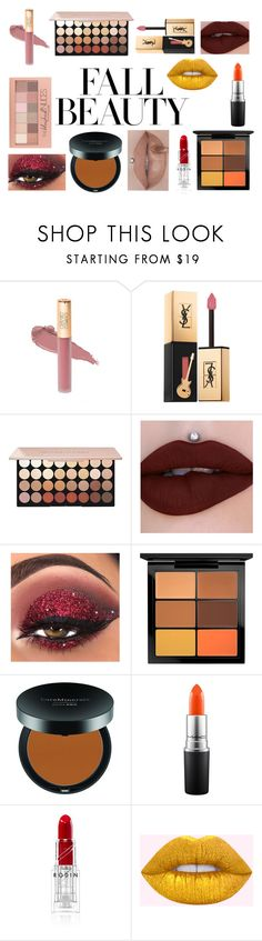 """""""Fall Beauty Lips And Eyes"""" by hcps-cleghorse ❤ liked on Polyvore featuring beauty, Yves Saint Laurent, Maybelline, MAC Cosmetics and Bare Escentuals"""