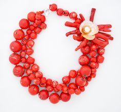MdeM-Mónica Sobreiro Jewellery Necklace in Coral, Shell and Pearl Ref.  M-00061