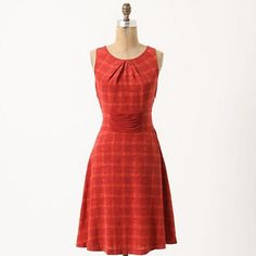 """Girls from savoy Goji plaid dress size ten A tiered front panel gives the illusion it's feeding into a back bow on Girls from Savoy's sweet-tart silk frock. Back sash Side zip Silk; polyester lining Dry clean 38.5""""L Imported Style No. 23546005 EUC size 10 Anthropologie Dresses"""