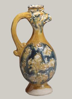 'Pheonix-Headed Ewer', late 7th–first half of the 8th century, Earthenware with three-color (sancai) glaze, H. 32.5 cm