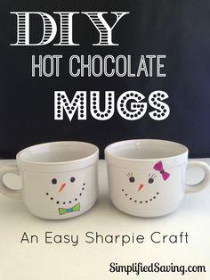 DIY Hot Chocolate Mugs {An Easy Sharpie Craft}