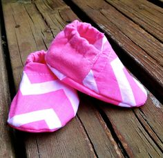 Pink Chevron Baby Toddler Crib Shoes Baby by WithinThePines