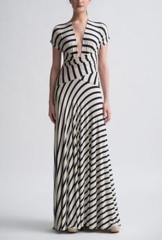 Little French Stripe Wrap Gown Front