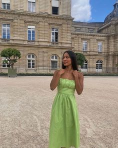 Song Of Style, Style Me, Aimee Song, Tinashe, Green Midi Dress, Formal Wear, Strapless Dress, One Shoulder, Dress Up