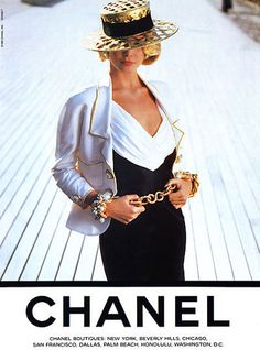 Claudia Schiffer - her first ever Chanel campaign, shot by Karl Lagerfeld in Deauville, 1990