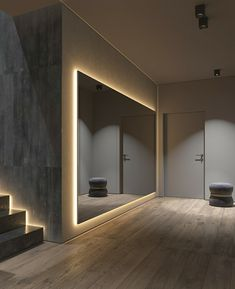 Dark Grey Home Decor With Warm LED Lighting - After a hectic day of being out a., Dark Grey Home Decor With Warm LED Lighting - After a hectic day of being out a. Home Room Design, Dream Home Design, Modern House Design, Home Interior Design, Gray Interior, Interior Designing, Luxury Kitchen Design, Bad Room Design, Lobby Interior