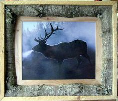 Rustic frame - wonder if I could do something like this with bark