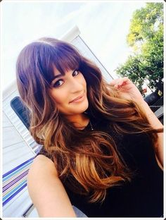 Brunette with Light Brown Highlights | Dream hair look.Brunette summer highlights and bangs with long hair ..: