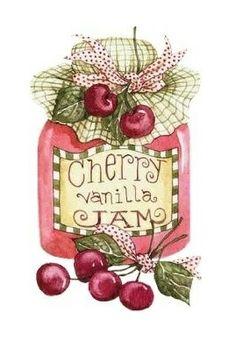 Art by Diane Knott - Cherry Vanilla Jam. Vintage Pictures, Vintage Images, Cherries Jubilee, Pintura Country, Country Paintings, Country Art, Country Style, Vintage Labels, Vintage Clip