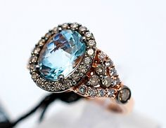 LeVian 3 01cttw Chocolate Diamonds Aquamarine Strawberry Rose Gold Ring 14 KT   eBay