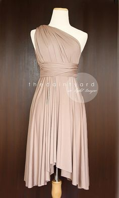 Light Taupe Bridesmaid Convertible Infinity Dress Multiway Wrap Prom Dress Pale Brown Maid of Honor Inspirations | Bride & Groom