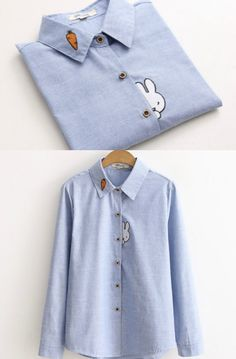 Vateddy - Bunny Embroidered Shirt US$9.79 (80% OFF)