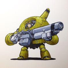 Mech Love Not War » mrjakeparker:   Ballboy infantry-mech.