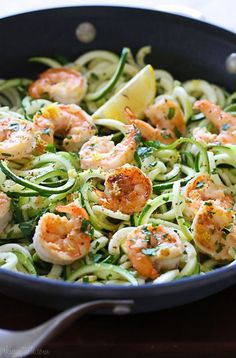 Shrimp Scampi Zoodles for two.