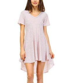 This Red Stripe Hi-Low Scoop Neck Shift Dress - Plus is perfect! #zulilyfinds