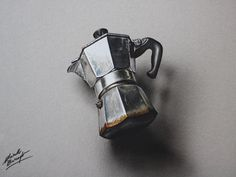 Marcello Barenghi: A Moka pot - drawing This drawing of a macchinetta (Moka pot) took me nearly 4 hours. Check out the full drawing process in this youtube video! A timelapse of the drawing from beginning to end. Thanks for watching :) http://youtu.be/5he2wrqu3ck?list=UUcBnT6LsxANZjUWqpjR8Jpw