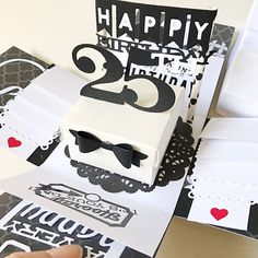 A cute cheerful and sweet box card for birthday or wedding using  cardstock, pattern paper, pom pom, die cut, stamp, handmade flower etc.It measures 4 inches by 4 inches. It can be custom colors and theme.This listing consist :- black and white 25th birthday theme- a box in the center - 2 layers - 8 waterfall moving photo corner- 1 message Chat to offer me if you need any customisation of cards, tags, album :)Thank you for viewing my listing!To search for all my Boxcard design: keyword…