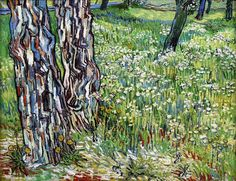 Van Gogh, Pine Trees and Dandelions in the Garden of Saint-Paul Hospital, late April 1890. Oil on canvas, 72 x 90cm