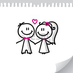 Cartoon Wedding Couple On Realistic Paper Sheet Royalty Free Cliparts, Vectors, And Stock Illustration. Image 13454055.