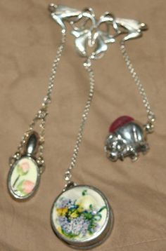 ANTIQUE STERLING SILVER FLORAL CHATELAINE~pin cushion,perfume,tape measure | eBay