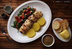 Recetas de otoño: Pollo relleno de setas y pimientos del piquillo – A masa y mantel