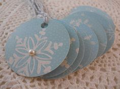Christmas Price Tag Circle Gift Tag Blue by EllieMarieDesigns, $4.00